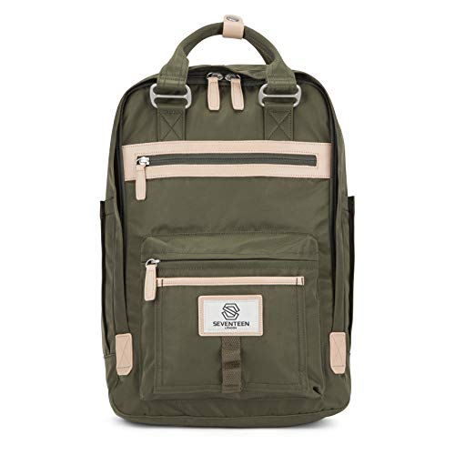 SEVENTEEN LONDON – Modern Urban Unisex Army Green 'Wimbledon' Backpack in a Classic Slim Simple Design – Fits Laptop up to 13""