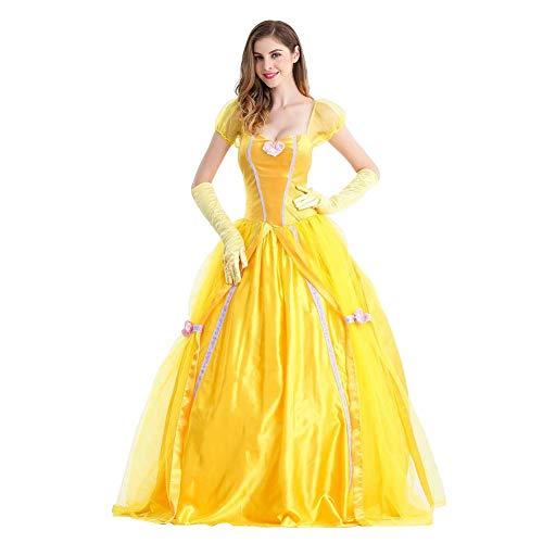 OwlFay Damen Belle Kleid Erwachsene Karneval Halloween Märchen Prinzessin Kleid Festlich Cosplay Weihnachten Kostüm Damen mit Handschuhe Verkleidung Gelb XL