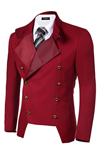 COOFANDY Men's Casual Double-Breasted Jacket Slim Fit Blazer (Large, Red)