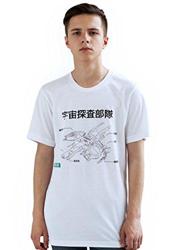 Japonais pour Homme – Asaoka Vaisseau Spatial : Intergalactique Sonde Spatiale : Mission # 2 – Anime Manga T-Shirt imprimé - Blanc - Large