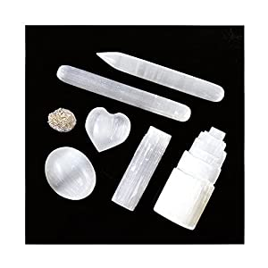 7 pcs White Selenite Desert Rose Crystal Set - For Negative Energy Clearing