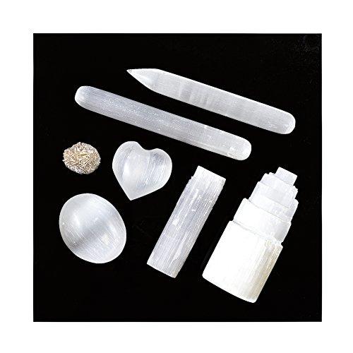 Infused 7 pcs White Selenite Crystal Complete Set & Healing Kit