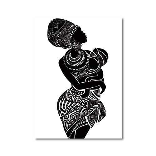 zhaoyangeng Mooie Afrikaanse vrouw met babykamer muurkunst canvas schilderij zwart-wit-muurschildering moderne affichedruk Home Decor- 50X70cm niet-ingelijst