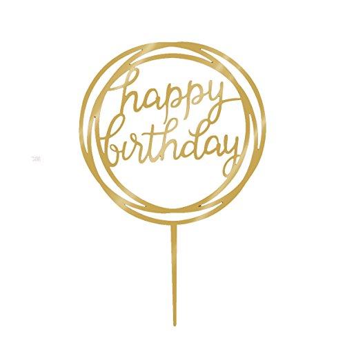 STOBOK Geburtstag Kuchen Topper mit Happy Birthday Acryl Spiegel Cake Decoration für Geburtstags Party Dekoration (Gold)
