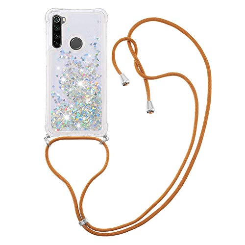 Liquid Quicksand Silicone TPU Bumper Case with Lanyard for Xiaomi Redmi Note 8 (Silver)