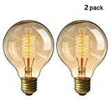 KINGSO 2 Pack E27 Edison Ampoule à Incandescence Vintage Globe Lampe Filament Rétro G80 60W 220V Blanc Chaud Idéal pour...