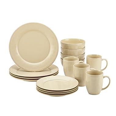 Rachael Ray 55094 Cucina Dinnerware 16-Piece Stoneware Dinnerware Set, Almond Cream