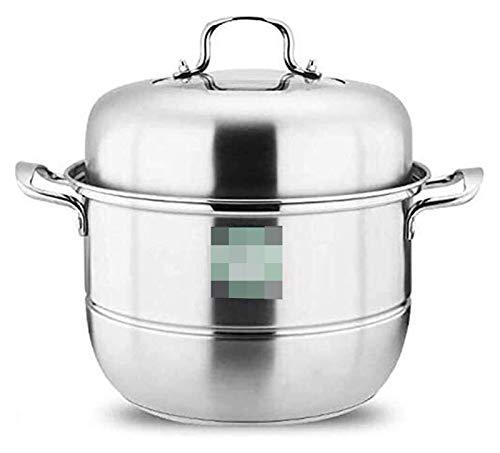 GJP Juego de sartenes de Vapor para cocinar de 2 Niveles Olla de Vapor de Cocina de Acero Inoxidable 304 con Tapa Cocina de inducción Olla de Gas Universal 30cm 1230