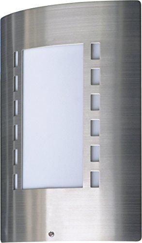 Ranex 5000.087 Messina Wandleuchte – Tag/Nacht-Sensor(Dämmerungsschalter) – IP44 – Edelstahlschild