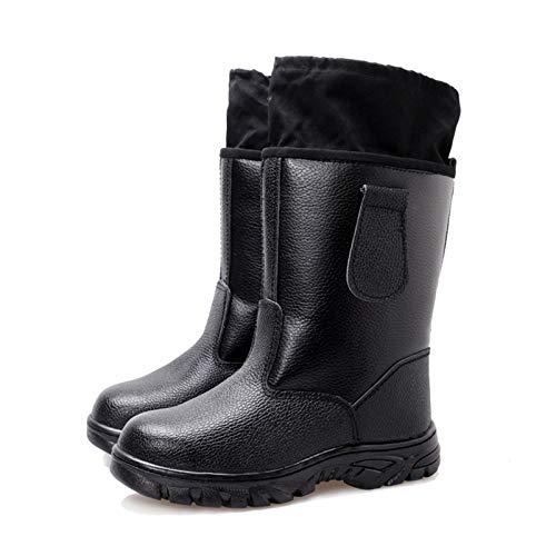LINGZE Botas de lluvia con puntera de acero de seguridad, zapatos de caza al aire libre, calzado impermeable para hombre