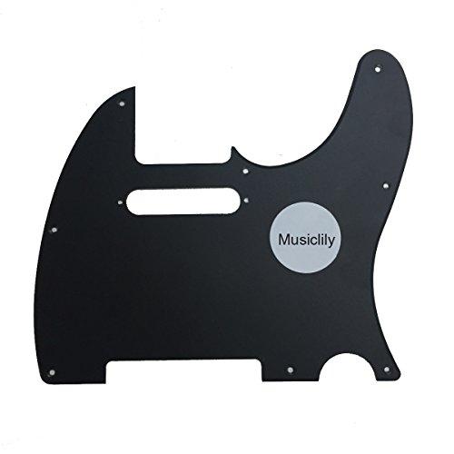 Musiclily 8 Agujeros Tele Pickguard Golpeador para Fender American/México Standard Telecaster Estilo Moderno, 1 capa Negro Mate