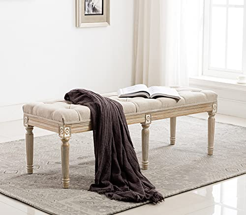 chairus Fabric Upholstered Entryway Ottoman Bench - Classic Bedroom Bench with Rustic Wood Legs -...