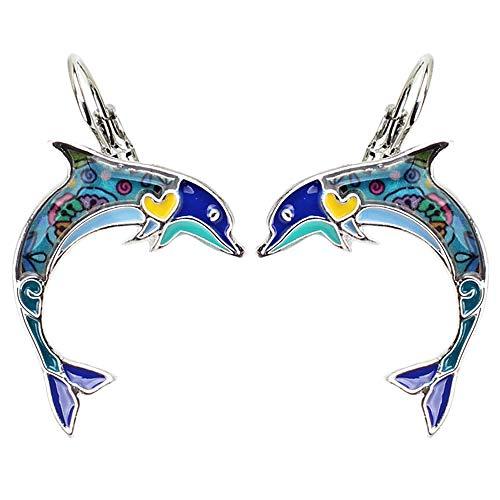 XAOQW Ocean Collection Smalto Salto Delfino Lega Borchie Goccia Clip Orecchini Moda Animali Gioielli per Ragazze Donne Donna-Blu