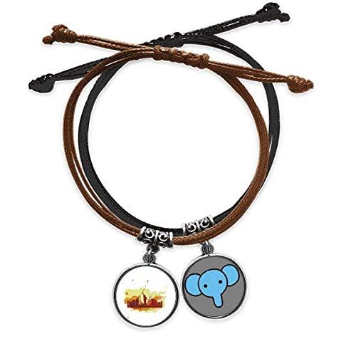 CaoGSH USA America Nueva York City Liberty Pulsera de acuarela de cuerda de mano de cuero elefante pulsera