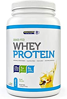 Brightcore Grass-Fed Whey Protein Powder (25 Grams) Naturally Sweetened Vanilla Flavor | Helps Build Stronger, Leaner, Healthier Muscles | Non-GMO, Gluten Free