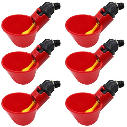 MACGOAL 6Pcs Poultry Water Drinking Cups Automatic Poultry Waterer Chicken Drinker Cups for Bird Quail Chicken Flock (6, Red)