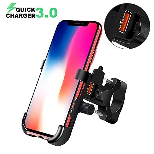 ShinePick Porta Cellulare Moto, QC3.0 Ricarica Rapida 360° Ruotabile Universale Bici Motociclo Supporto Telefono Alluminio con Porta di Ricarica USB per iPhone/Samsung/Qualcomm/Huawei e Altro
