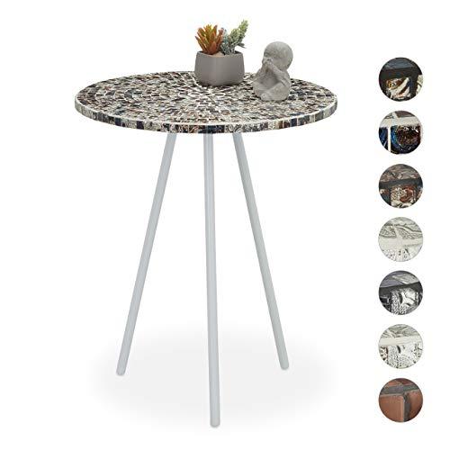 Relaxdays Mozaïek bijzettafel, ronde siertafel, handgemaakt, unicum, mozaïektafel, HxD: 50 x 41 cm, wit-zilver, 50, 00 x 41,00 cm