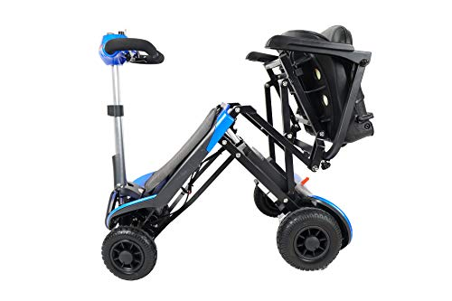 Electric Boot Mobility Scooters Wheelchair and Automatic Fold by Remote Control (Blue)