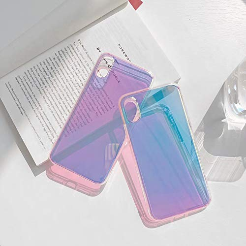 Laser Glitter Case for iPhone 11 Glossy Gradient Colorful Transparent Mirror Slim Thin Phone Cover Back Shell (iPhone 11)