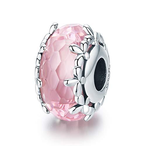 Ciondolo in vetro di Murano e in argento Sterling 925, compatibile con braccialetti e bracciali rigidi Pandora, colore rosa Stile 1