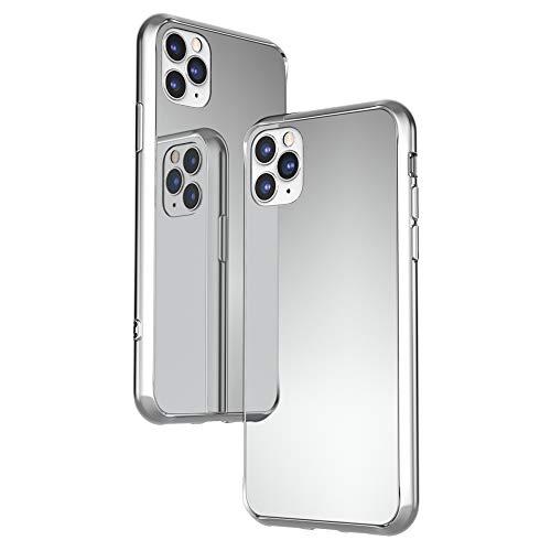 NALIA Funda Espejo Compatible con iPhone 11 Pro, Mirror Hard-Case in 9H Vidrio Templado & Silicona Bumper, Delgado Carcasa Rigida Cover Resistente Telefono Movil Proteccion, Color:Plata