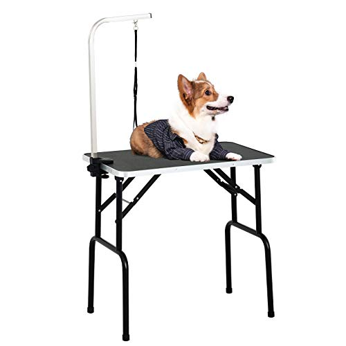 SUNCOO 32/36 Inch Portable Pet Dog Grooming Table for Small Dogs Professional Folding Drying Trimming Table, Heavy Duty Frame, Adjustable Arm/Noose (Without Basket, 32 in)