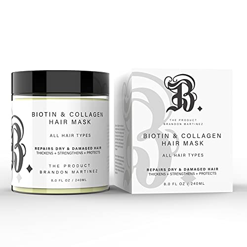 Biotin and Collagen Hair Mask - Natural Hair Mask with Collagen & Biotin for Hair Growth - Avocado Oil & Vitamin E Oil For For Dry & Damaged Hair Natural Ingredients B. The Product 8 oz
