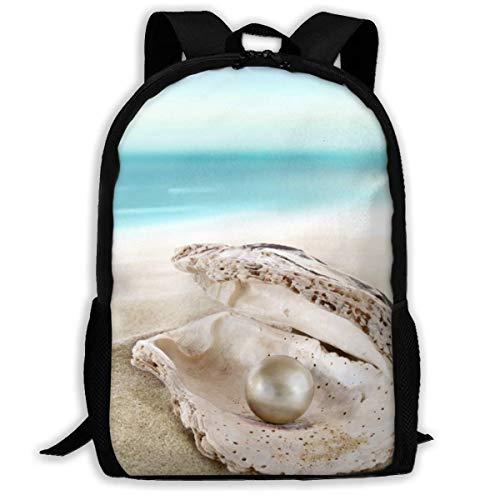 XCNGG Ocean Beach Mussel Pearl Printed Travel Backpack,Waterproof Lightweight Laptopbag Have Two Side Pockets