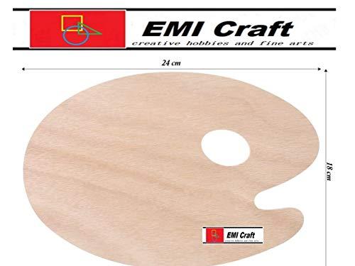 Paleta del Pintor - ovalada de madera pintura Pallet - 18 x 24 cm, grosor: 5 mm - EMI Craft