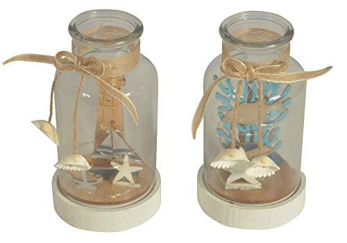 CHICCIE 2 Set Flasche 16,5cm Mit Maritim Deko Aus Holz - Maritime Tischdeko Segelschiff Anker Seestern Leuchtturm