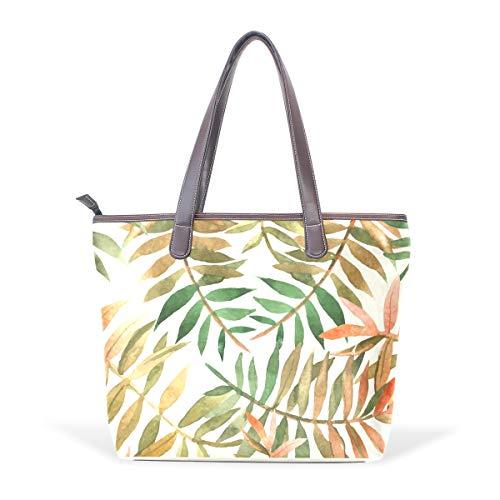 LUPINZ - Bolso de mano de piel sintética para acuarela, diseño de hojas hawaianas, color, talla Medium