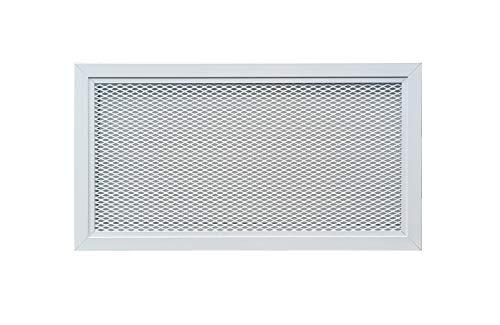 Rejilla de Ventilación de Aluminio con Red Metálica en Color Blanco con Recubrimiento de Polvo RAL 9016, Rejilla de Ventilación Difusor de Aire Caliente.(40 x 20 cm)