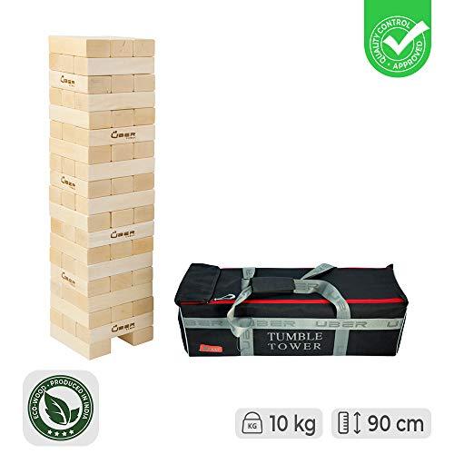 Ubergames Giant Wackelturm Spiel aus Eco Holz - Top Qualität Stapelturm - bis 90 cm Groß…