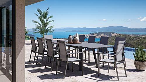 ARTELIA Lilo XXL Gartenmöbel Essgruppe Aluminium für 10 Personen Esstisch Set für Garten, Terrasse mit Auszugtisch, Alu Gartenmöbelset Anthrazit