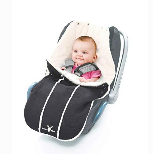 Wallaboo Fußsack, Universal für Babyschale, Autositz, z.B. für Maxi-Cosi, Römer, für Kinderwagen, Buggy oder Babybett, Farbe: Schwarz