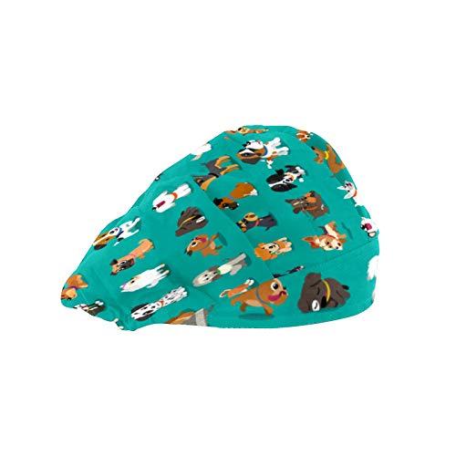 Gorra de trabajo para el pelo largo con banda elástica ajustable para el sudor, gorras de trabajo para los hombres, bufanda de cabeza impresa en 3D, diferentes dibujos animados perros