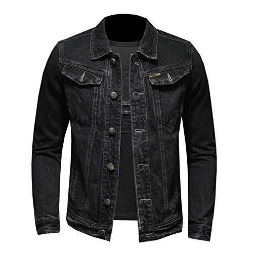 Hombres Chaqueta de Mezclilla Clásico Sólido Negro Casual Lavado Slim Fit Hombre Jeans Abrigo Primavera Otoño Biker Chaquetas