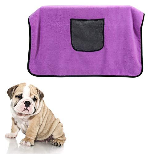 HEELPPO Albornoz para Perros Toalla De Microfibra Toalla De BañO Gran SúPer Absorbente para Mascotas Bolsa para Mascotas Albornoz Adecuado para Perros PequeñOs Y Medianos Purple