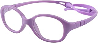 Unbreakable Flexible Kids Glasses Frame with Clear Oval Lens Cute Eyewear Frame for Girls(Age 2-5)