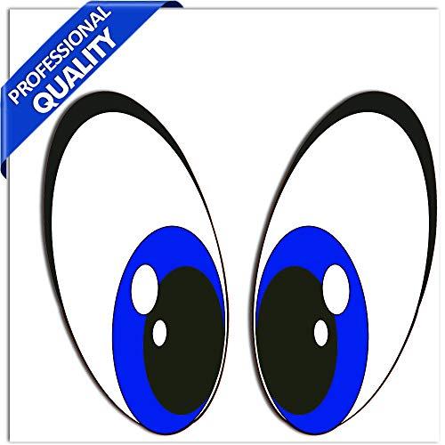 SkinoEu® 2 Stück Vinyl Lustiger Aufkleber Autoaufkleber Funny Stickers Augen Blau Auto Moto Motorrad Fahrrad Skate Helm Fenster Spiegel Tür Tuning B 74