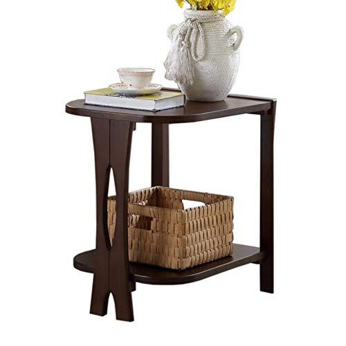 Mesa de cama, Mesas Tablas de madera maciza americana Sofá Fin de mesas, gabinete de la esquina de la sala de estar, mesa lateral de doble capa, 3 colores Cafetería Color: Color de madera, Tamaño: 21.