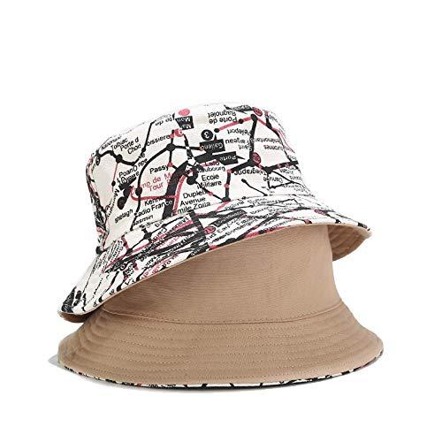 Bucket Hat Chapeau Unisexe Été Seau Chapeau Double Face Carte Imprimée Femmes Hommes en Plein Air Crème Solaire Casquette en Coton Rue Hip Hop Chapeau De Pêche
