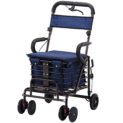 Elderly boodschappentrolley met 6 wielen en grote boodschappenmand en suède stof Seat, maximale belasting 100 kg blauw