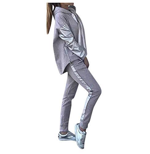 Tomatoa-Damen Freizeitanzug Sport Anzug Zweiteilige Hoodie Sweatshirt + Jogginghose Trainingsanzug Jogginganzug Streetwear Mode Outfit 2 Stück S - XL
