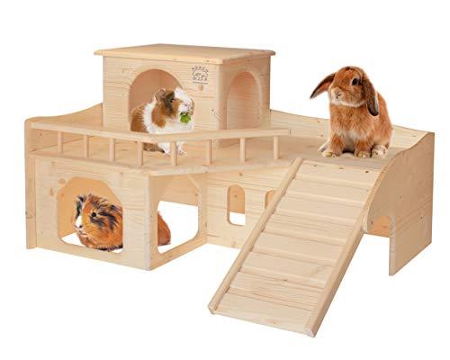Resch Nr36 Kaninchenschloss naturbelassenes Massivholz aus Fichte/DREI großen EIN-/Ausgängen im Erdgeschoss, Einer anschraubbaren Treppe und einem abnehmbaren Turm