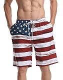 HONG DI HAO Mens Swim Trunks American USA Flag Swimming Surf Beach Shorts with Elastic Waist and 3 Pockets