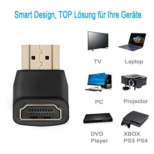 JBSTK 3X HDMI 90° Winkeladapter 19pol / HDMI-Stecker auf HDMI-Buchse - VERGOLDETE Kontakte Schwarz