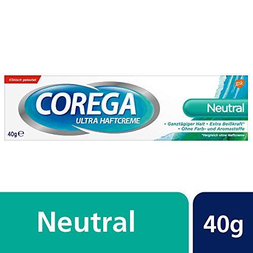 Corega Ultra Haftcreme Neutral für Zahnersatz/dritte Zähne, 40g, ohne künstliche Farb- und Aromastoffe