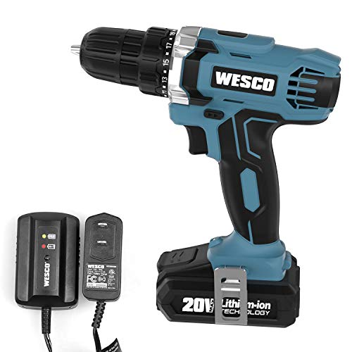 WESCO Cordless Drill, 20V Impact Drill w/Li-ion Battery & Charger, 3/8' Keyless, Chuck 21+1 Clutch, LED Light, Drilling Wall Brick Wood Metal /WS2972U